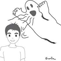 Cartoon drawing of ghost shouting to a deaf person