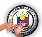 Supreme Court logo with signing hands