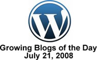 Wordpress Logo with Growing Blogs of the Day Text