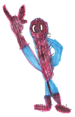 Spider-man with I-love-you Sign Drawn by a Kid Named Elijah