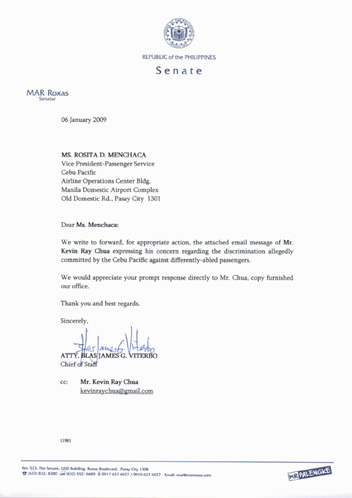 Letter from Office of Senator Roxas