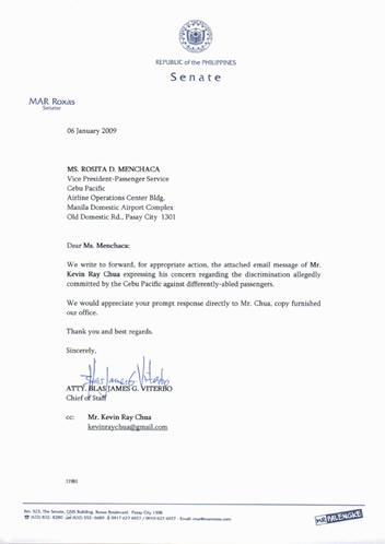 Letter from Office of Senator Roxas