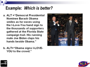 Presentation page where I used Obama's 1-4-3 sign as example