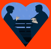 Silhouette of Deaf Couple Signing (photo from Getty Images)