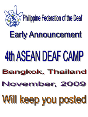ASEAN Deaf Camp Early Announcement