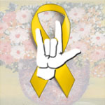 Yellow Ribbon with I-L-Y Hand Sign on Top