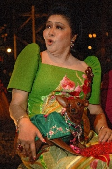 Imelda Marcos wearing a Butterfly Dress