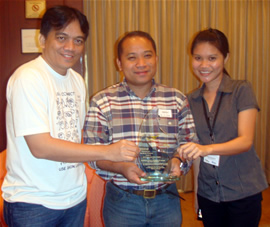 From Left: MCCID College of Technology Director Jojo Esposa Jr., NCDA Asst. Chief for TCD Dandy Victa and Bitstop Network Services Representative Maria Cristina Bayno