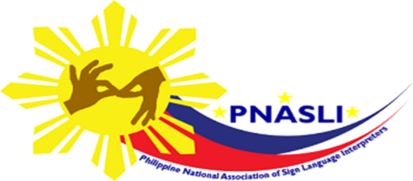 Interpreters hand behind Philippine sun flag with blue and red strips with PNASLI Name