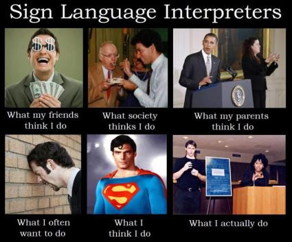 Images of what sign language interpreters do for a living