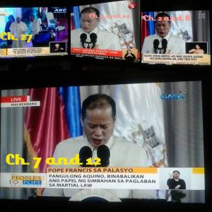 TV Screenshots of President Aquino's speech in Malacanang during courtesy call of Pope Fancis