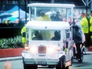 Pope Francis waves to the faithful riding an iconic Filipino Jeepney converted into a popemobile on the way to Quirino Grandstand to officiate the mass.