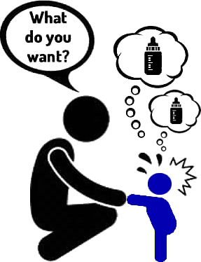 stick figure of a deaf child asking milk but the parent doesn't understand